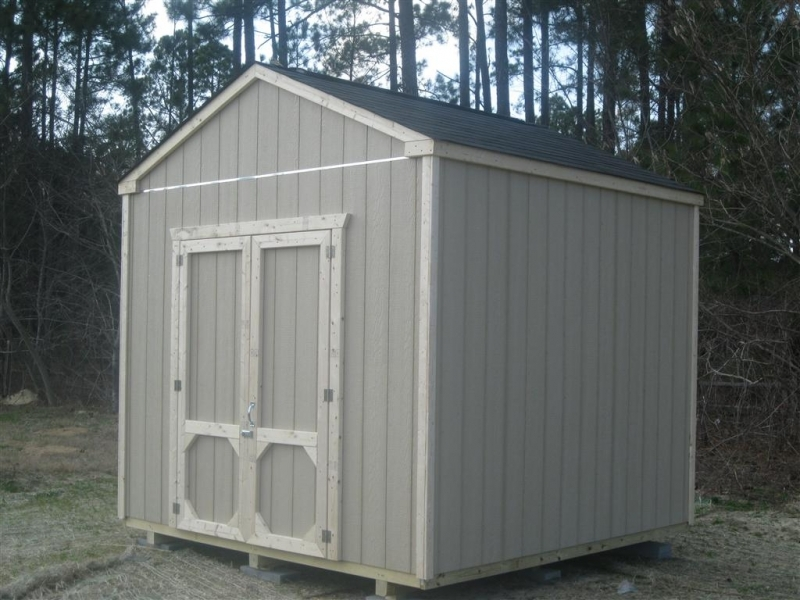 10x10 gable shed with 8 foot exterior walls